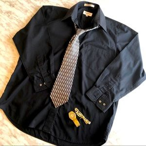 Vintage Balmain Paris men's black dress shirt
